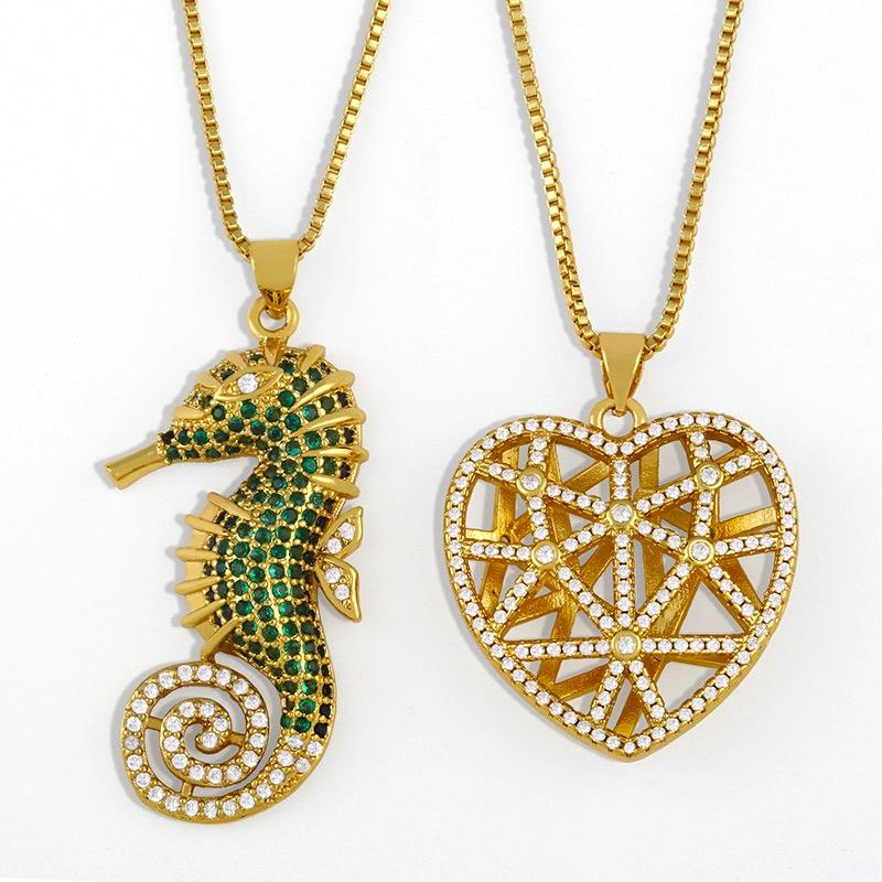 retro peach heart diamond necklace NHAS291989