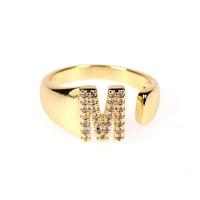 nuevo anillo ajustable de diamantes de oro abierto de 26 letras NHPY292023