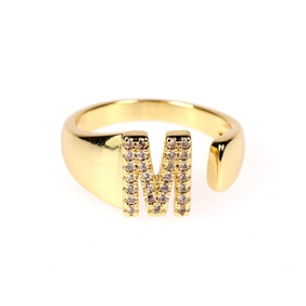 new 26-letter open gold diamond adjustable ring  NHPY292023