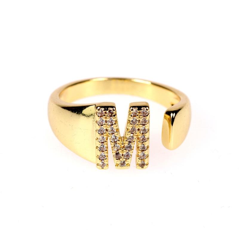 new 26letter open gold diamond adjustable ring  NHPY292023
