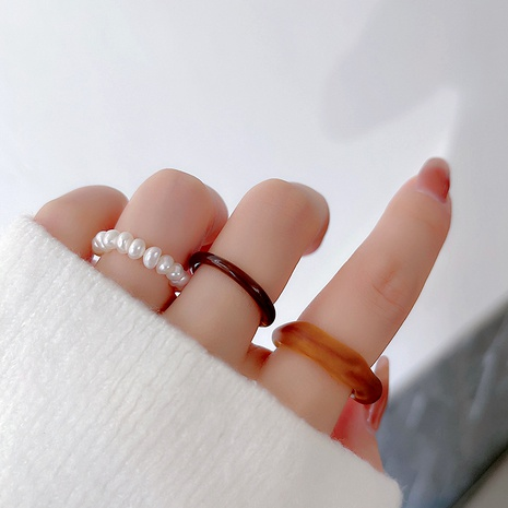 Korean irregular acrylic pearl ring  NHMS292056's discount tags