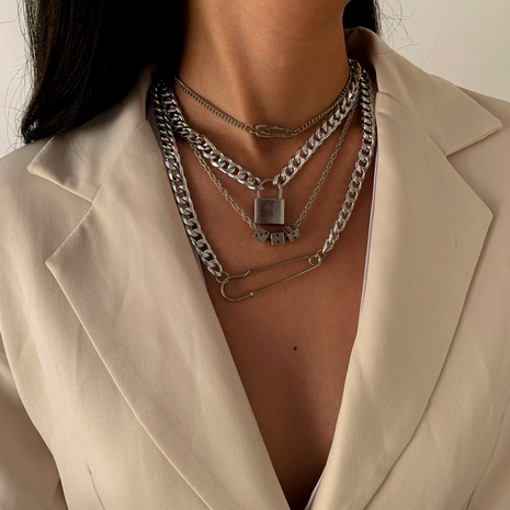 dice micro diamond pin necklace set NHXR292082's discount tags