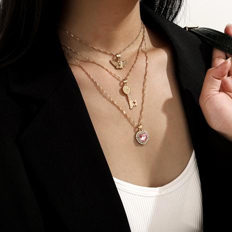 mehrschichtige Mode Engel Diamant Herz Halskette NHXR292083's discount tags