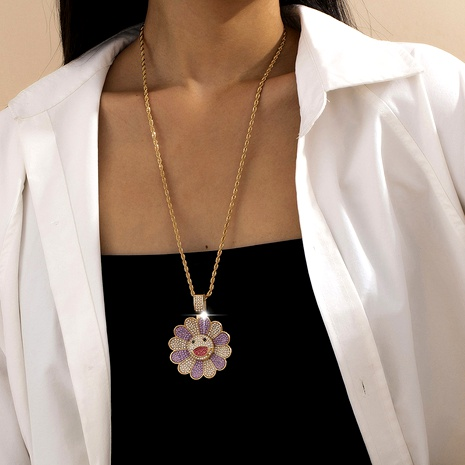 sunflower smiley face diamond necklace NHXR292084's discount tags