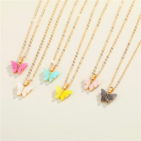 fashion butterfly resin necklace NHGO292094's discount tags