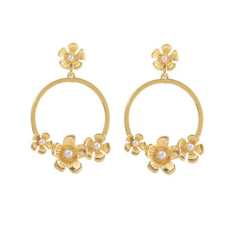 boucles d'oreilles en alliage de perles de fleurs NHOA292347's discount tags
