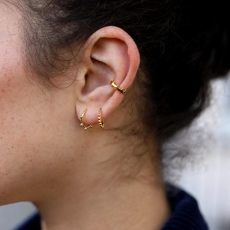 alloy twist peas earrings ear clip 3-piece set  NHLU292354's discount tags