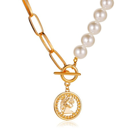 coin pendant pearl necklace NHCU292371's discount tags