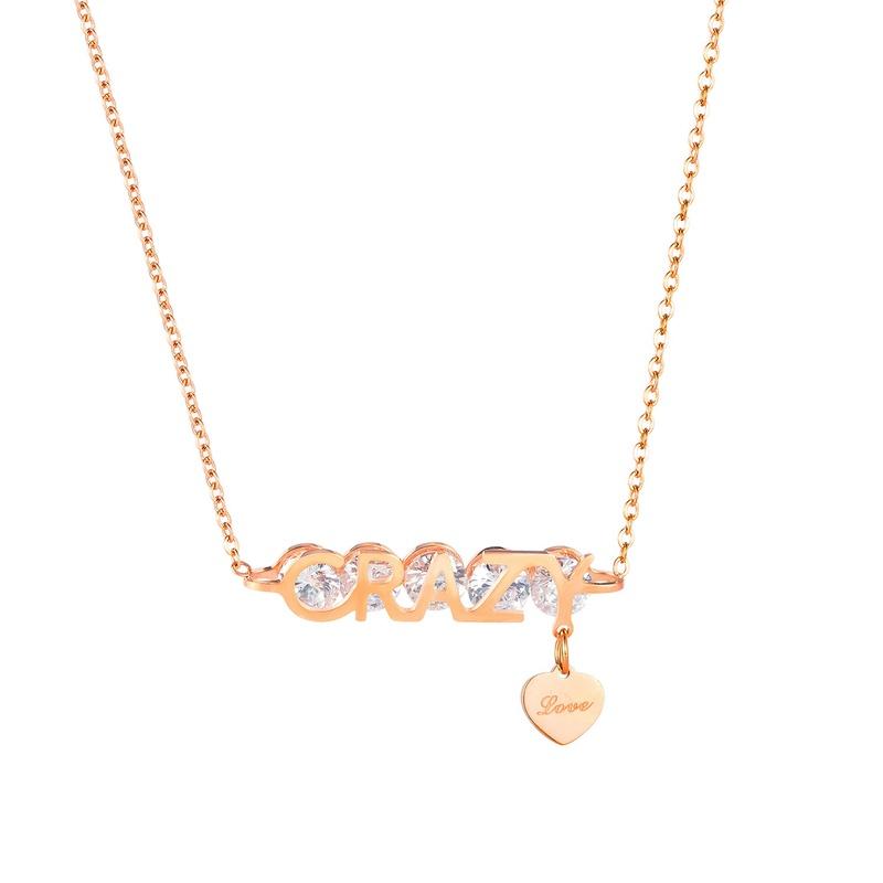 titanium steel diamond necklace NHOP292446