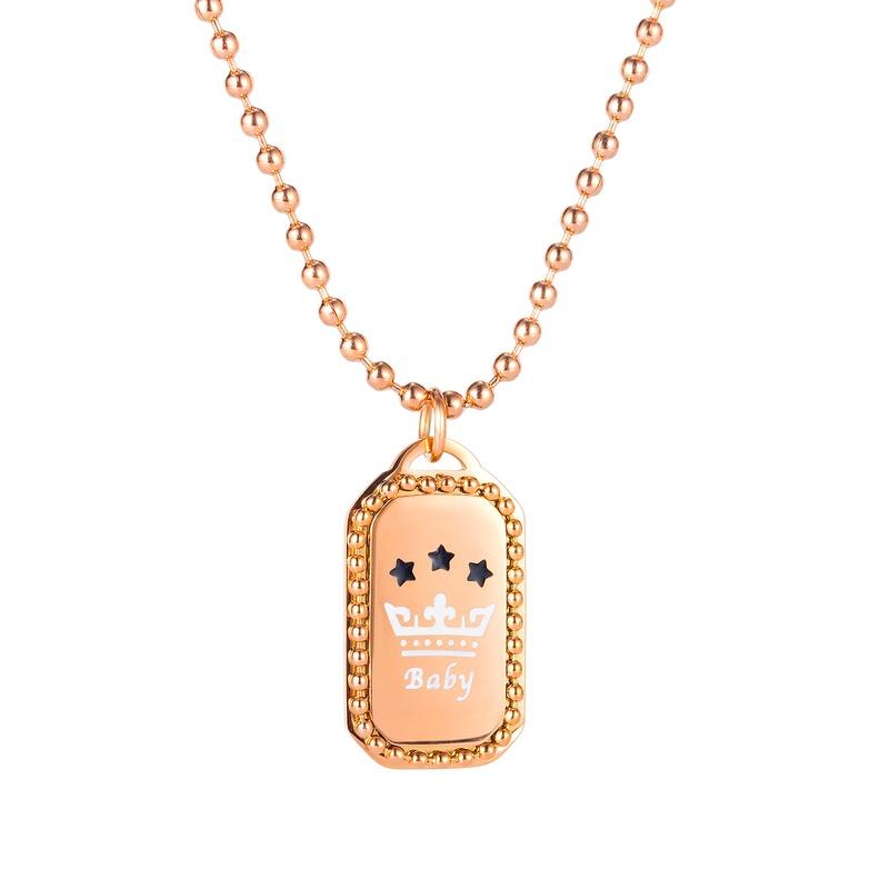 fashion crown titanium steel necklace NHOP292449