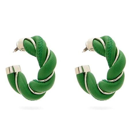 twist braided leather metal retro earrings NHNT292471's discount tags