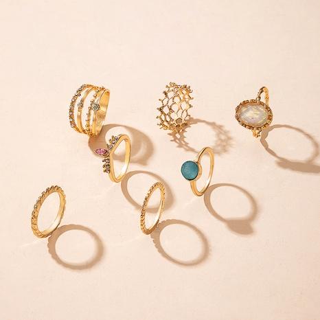 anillo hueco de diamante de cristal azul creativo diamante NHGY292139's discount tags