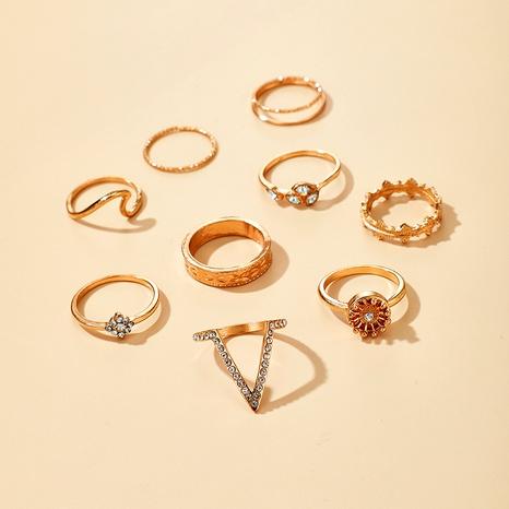 conjunto de anillos de múltiples piezas con diamantes y hojas de pétalos de luna NHGY292792's discount tags