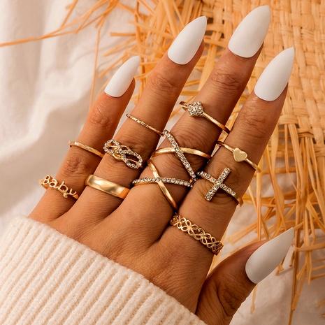 conjunto de anillos múltiples geométricos con cruz de diamantes de aleación NHGY292800's discount tags