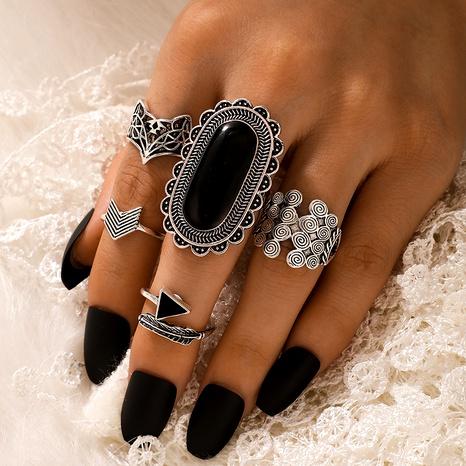 anillo de traje de múltiples piezas con gema negra de moda NHGY292799's discount tags