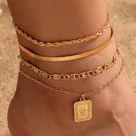 square pendant hip hop punk twist chain anklet  NHGY292779's discount tags
