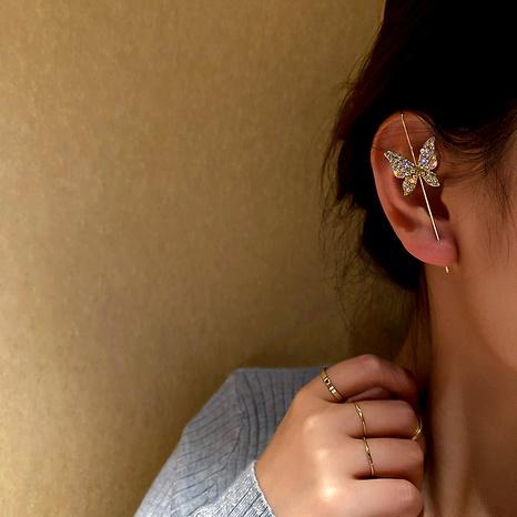 Simple butterfly flower pierced earrings ear clip NHQC292475's discount tags