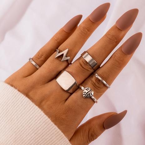 anillo de varias piezas con forma de rayo de hoja de estilo retro NHGY292770's discount tags