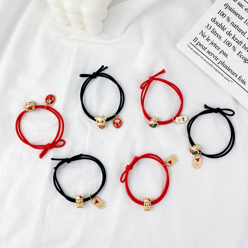New Year's red zodiac alloy hair rope NHCU292558