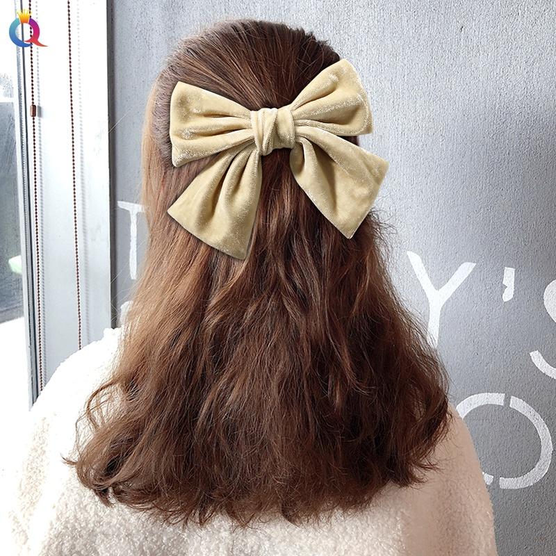 candy color velvet big bow hair clip NHDM292615