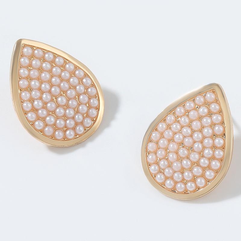 dropshaped alloy imitation pearl earrings NHJE292636
