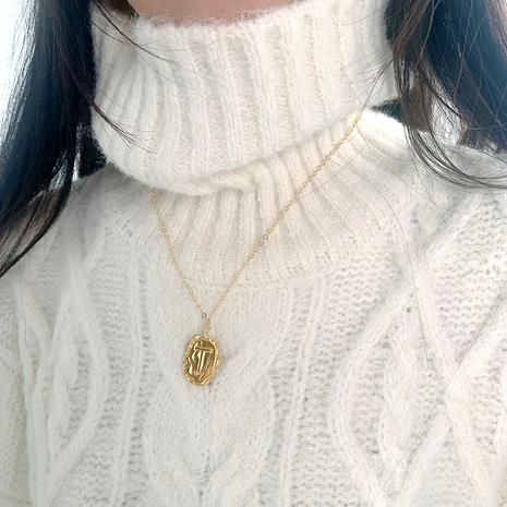 Collar con baches de metal largo y simple de letras doradas NHJQ292641's discount tags
