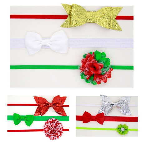 Christmas children's bow hairband three-piece set NHWO292730's discount tags
