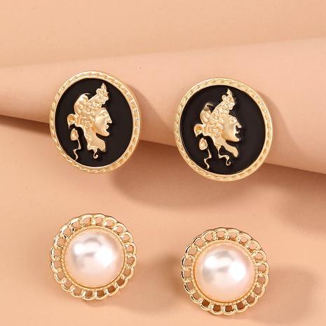 retro fashion pearl stud earrings set NHAN292809's discount tags