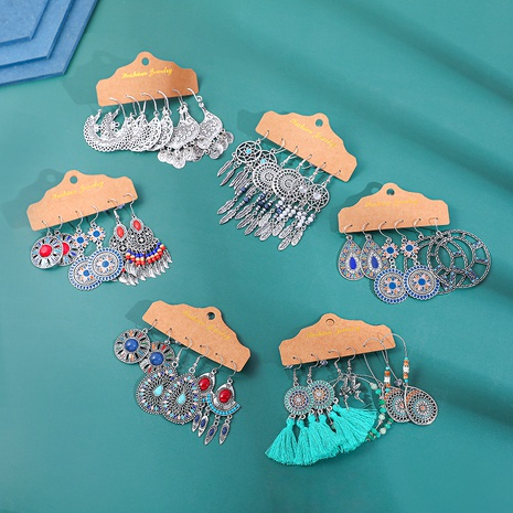 fashion drop-shaped alloy earrings set NHLL292827's discount tags