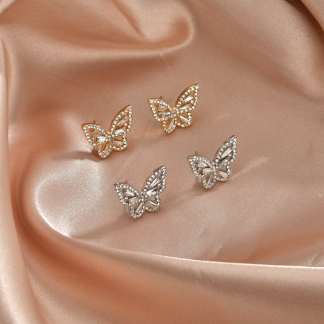 Korean fashion simple full diamond butterfly earrings  NHBQ292935's discount tags