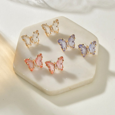 Korea creative fantasy  purple crystal butterfly earrings  NHBQ292941's discount tags