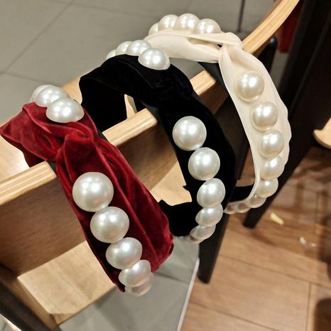 Nueva diadema de perlas flocadas de lado ancho de Corea NHUX292949's discount tags