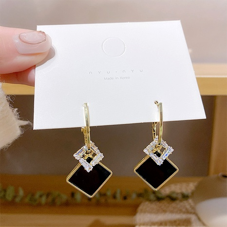 Silver Needle Fashion Crystal Retro Square Earrings NHXI292957's discount tags