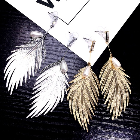 Metal feather pearl earrings NHFT292972's discount tags