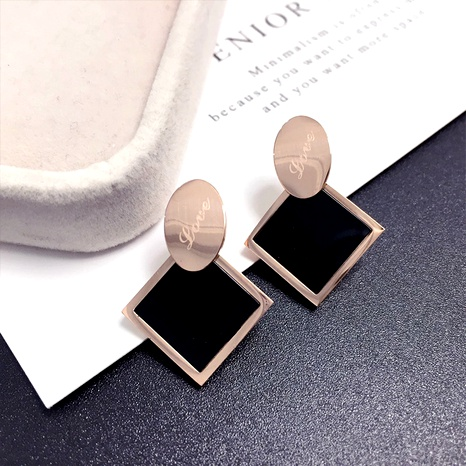 simple rose gold titanium steel earrings NHFT292976's discount tags