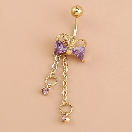 zircon purple bow belly button nail NHAN292997's discount tags