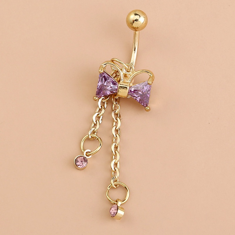 zircon purple bow belly button nail NHAN292997