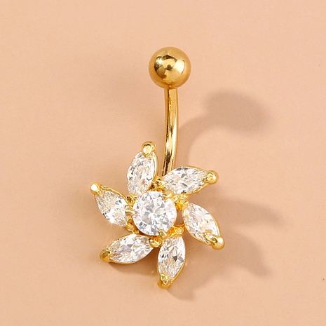 zircon fashion flowers belly button buckle  NHAN292998's discount tags