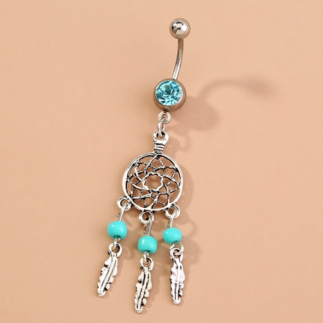 feather  tassel pendant stainless steel belly button nail NHAN292999's discount tags