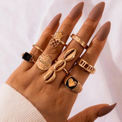 conjunto de anillos huecos de piedras preciosas negras de concha de amor NHGY293150's discount tags