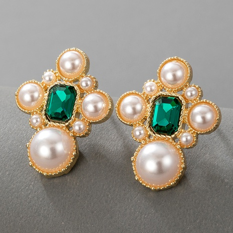 boucles d'oreilles rétro en cristal vert NHGY293119's discount tags
