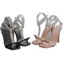 nuevos zapatos de mujer sandalias de tacn de aguja con lazo transparente de diamantes de imitacin de gran tamao NHSO293285