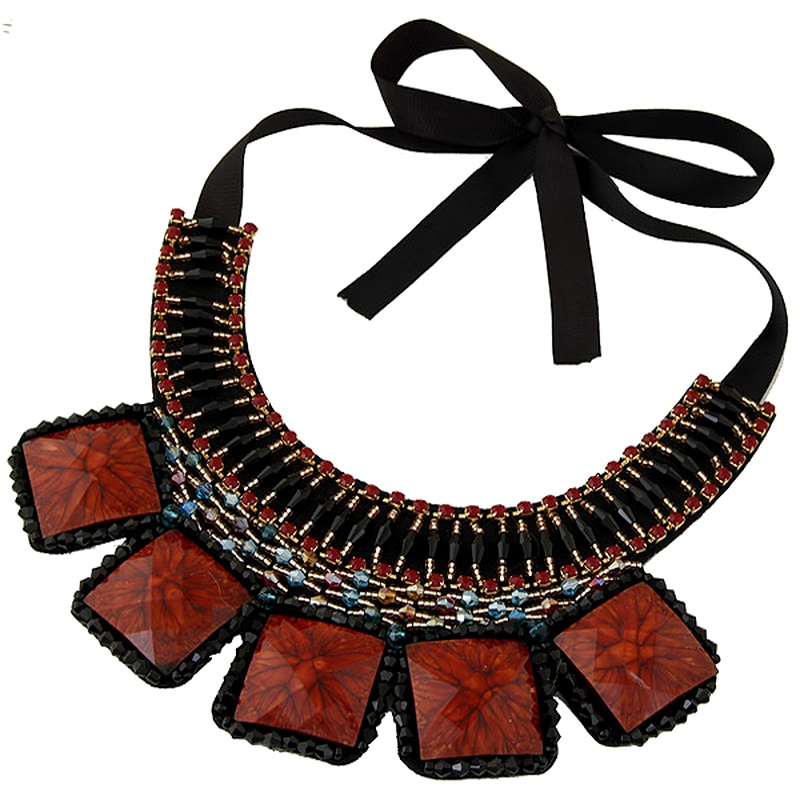 geometric square turquoise crystal wild short collar exaggerated necklace NHSC294018