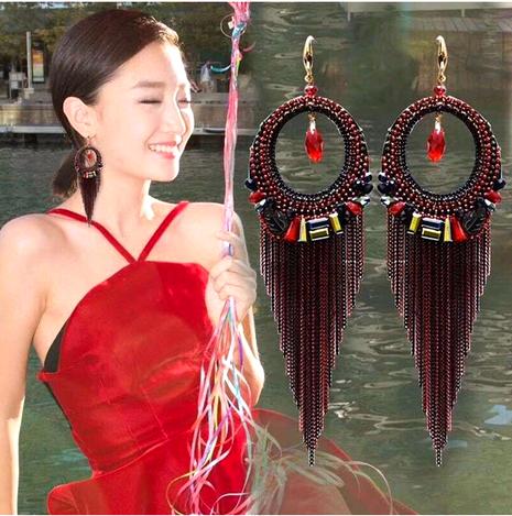Korean retro tassel long earrings  NHSC294003's discount tags