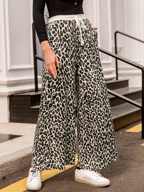 Apricot Leopard Loose Trousers NHDE293576's discount tags