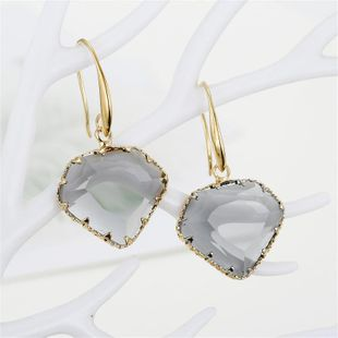 Simple geometric polygon inlaid heart-shaped crystal earrings multi-faceted irregular glass earrings NHGO196150's discount tags