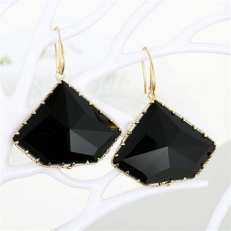 Pendientes de cristal poligonal geométrico temperamento pendientes de cristal irregulares simples y multifacéticos NHGO196152's discount tags