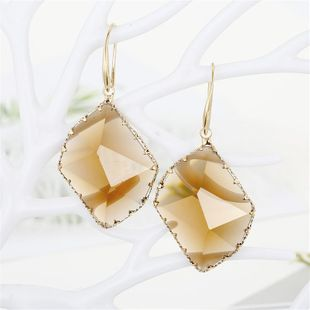 Geometric Polygonal Crystal Earring Earrings Multi-faceted Irregular Glass Edge Earrings NHGO196153's discount tags