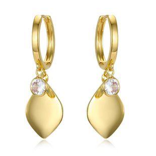 Geometric Cubic Zirconia Earrings Tassel Diamond Earrings Gold and Silver Leaf Diamond Earrings NHGO196154's discount tags
