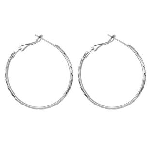 Exaggerated Round Engraved 925 Silver Big Hoop Fashion Simple Big Hoop Earrings NHGO196156's discount tags